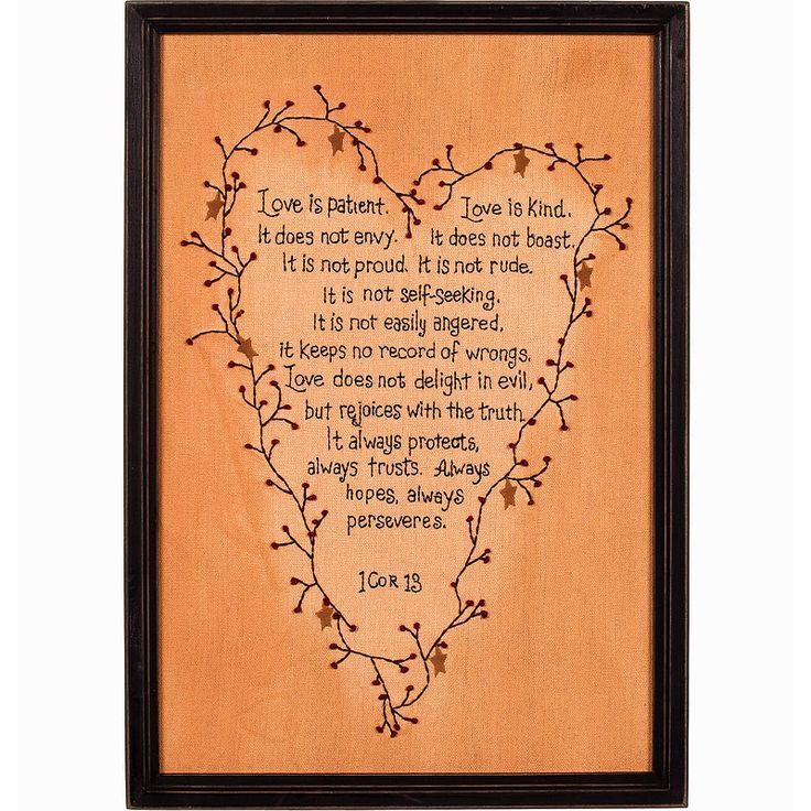 I Corinthians 13 Love Is Patient Framed Stitchery