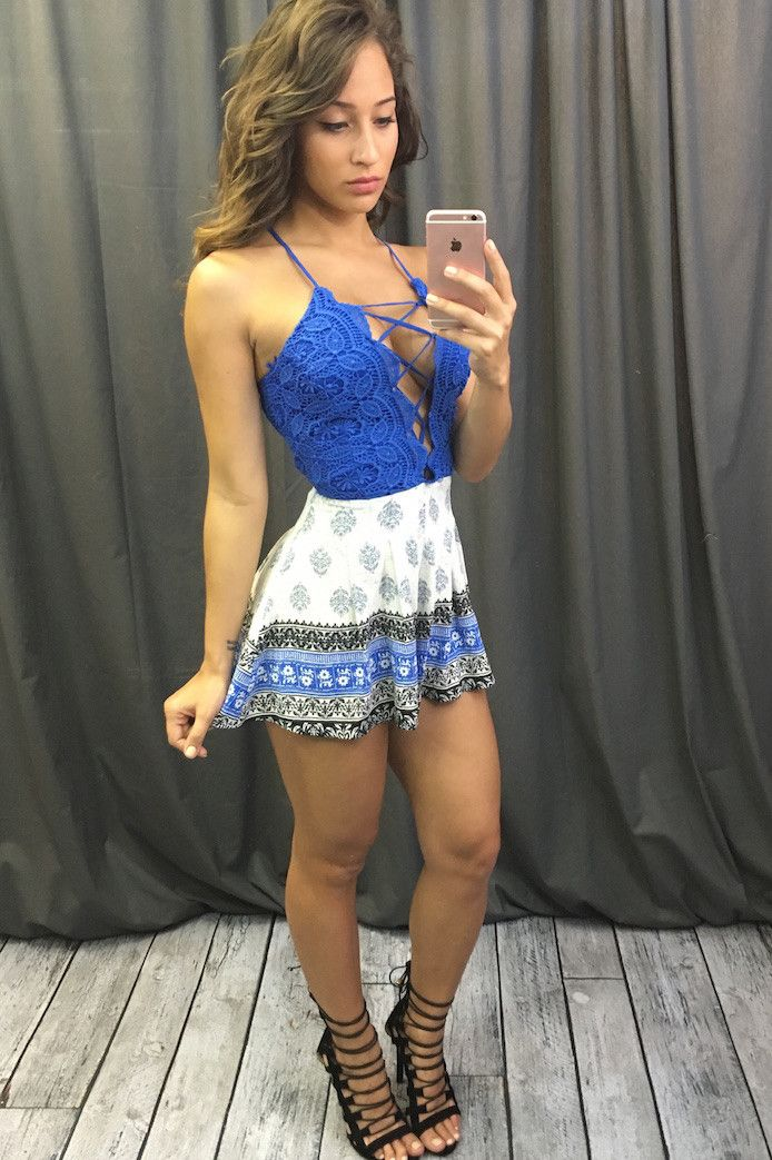 Lace Up Border Printed Romper (more colors)
