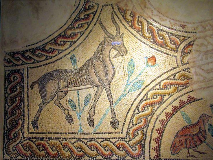 This mosaic of a gazelle is in Hammam As-Sarah, an Umayyad bathhouse in the desert east of Amman, Jordan.