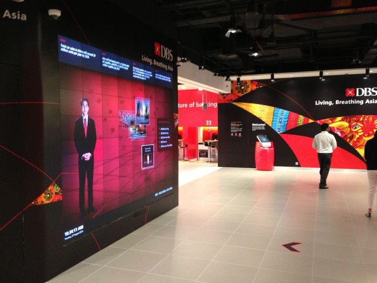 The resulting retail bank design utilises a motion-sensitive interactive digital welcome wall.