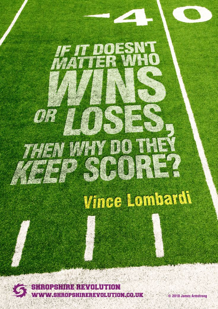 A poster design for American Football team Shropshire Revolution - quote by Vince Lombardi
