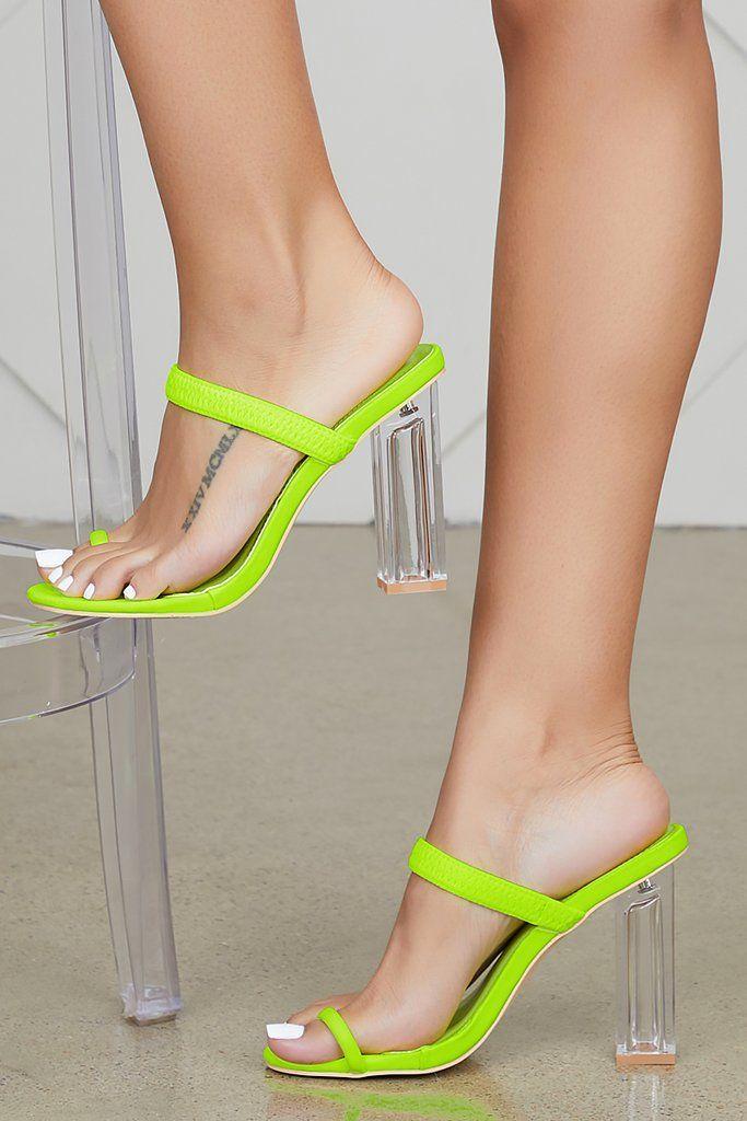Macaroon Clear Heel (Lime) | Clear