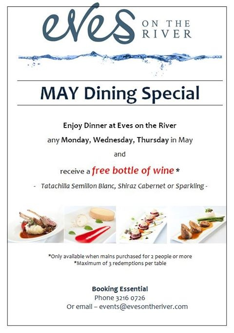 Dine with us any Monday, Wednesday or Thursday night this month and enjoy a free bottle of wine. #finedining http://www.evesontheriver.com/