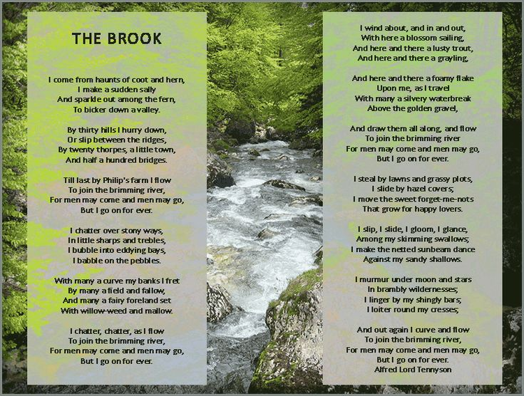 the brook by alfred lord tennyson A summary of tennyson's the brook is a very straightforward thing once you realize that the poetic voice, or the speaker, in this simple allegorical poem is the personified brook (who may be viewed as immortality in opposition to in the eagle by alfred, lord tennyson, what is the eagle a symbol of.