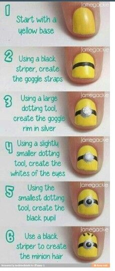 Minion Nail Art check out www.ThePolishObsessed.com for more nail art ideas.