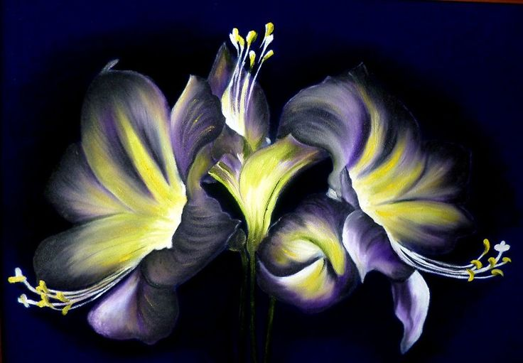 ночные Лилии , масло, замша - Изобразительное искусство - Масло, акрил