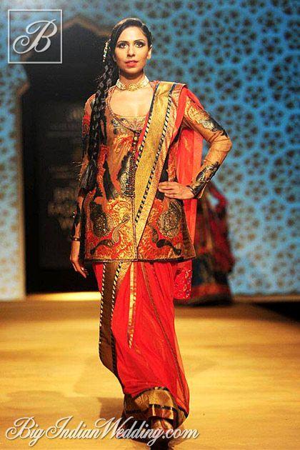 Ashima Leena red saree with jacket-style blouse