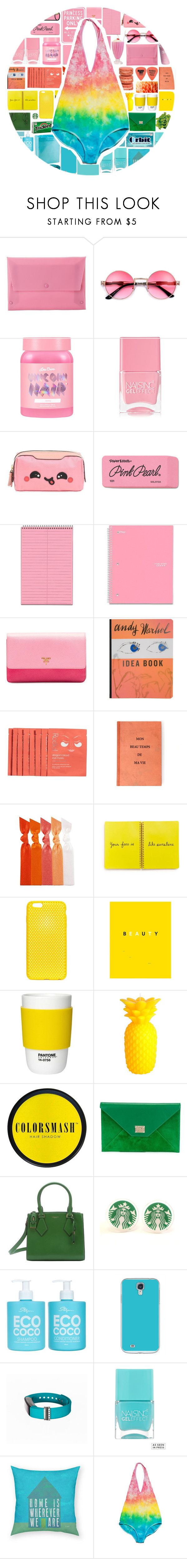 """""""Colors"""" by stelbell ❤ liked on Polyvore featuring MANGO, Lime Crime, Nails Inc., Anya Hindmarch, Paper Mate, Five Star, Prada, Burberry, ELSE and Rodial"""