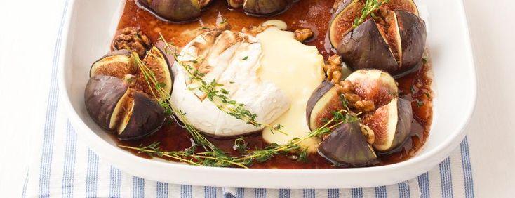 Zapečený hermelín s ořechy a fíky