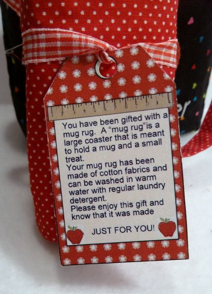 Want to show appreciation to a teacher? Why not make our teacher's mug rug. It stitches up quickly. To make your gift extra special, combine it with our coordinating teacher's gift bag and maybe even a small treat? Comes with a bonus printable tag that explains what a mug rug is and how to take care of it.