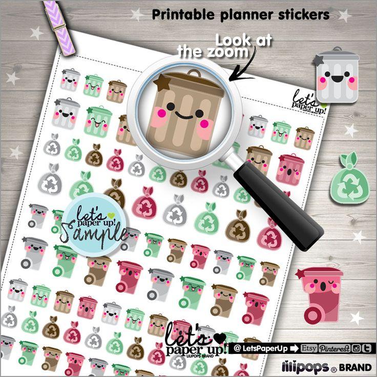 Garbage Stickers, Printable Planner Stickers, Trash Can Garbage, Kawaii Stickers, Erin Condren, Planner Accessories, Printable Stickers, DIY
