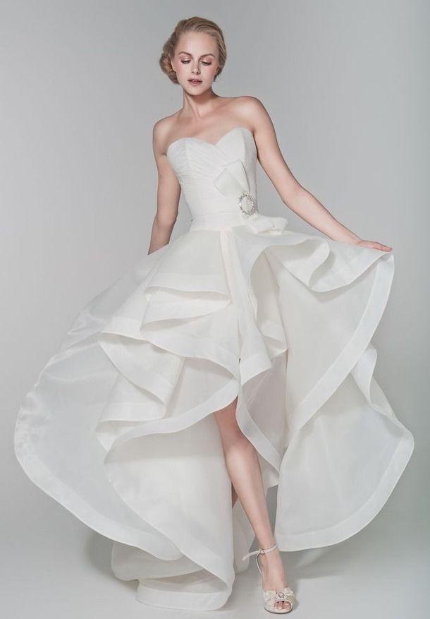 querida Hi-Low vestido de casamento e do vestido