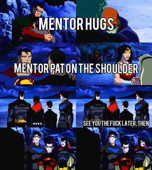 How Batman shows affection....lol