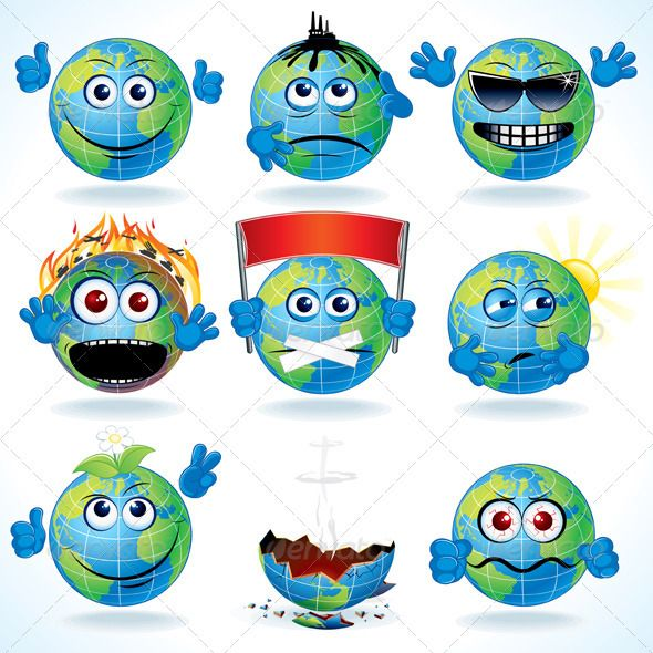 Cartoon Earth  #GraphicRiver         Set of Funny Cartoon Planet Earth with Various Emotions.  	 - vector illustration, only simply linear and radial gradients used  	 - vector objects grouped  	 - no blends, gradient mesh used  	 - vector available CMYK colors for print  	 - pack include version AI, CDR , EPS, JPG   	 Keywords: art, cheer, clip, collection, demolished, disaster, eyes, flood, globalization, human, hurt, mouth, nature, pollution, sad, series, set, sign, symbol, vector, kit…