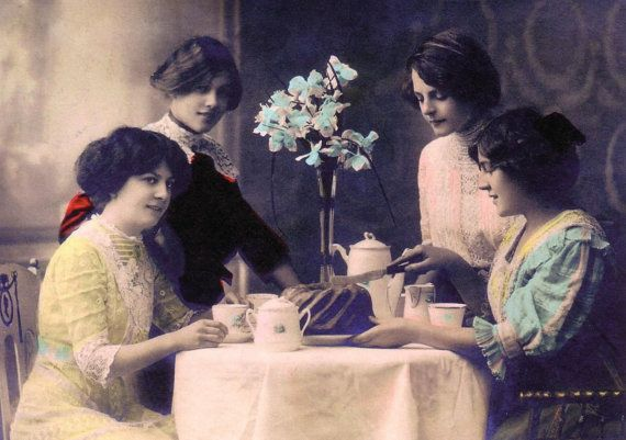 Vintage image ladies at a tea party greeting or birthday card, $3.00