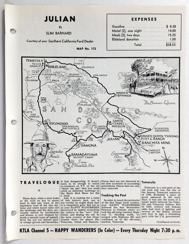 1960's JULIAN CA Happy Wanderers Travelogue Slim Barnard Map KNBC Ford