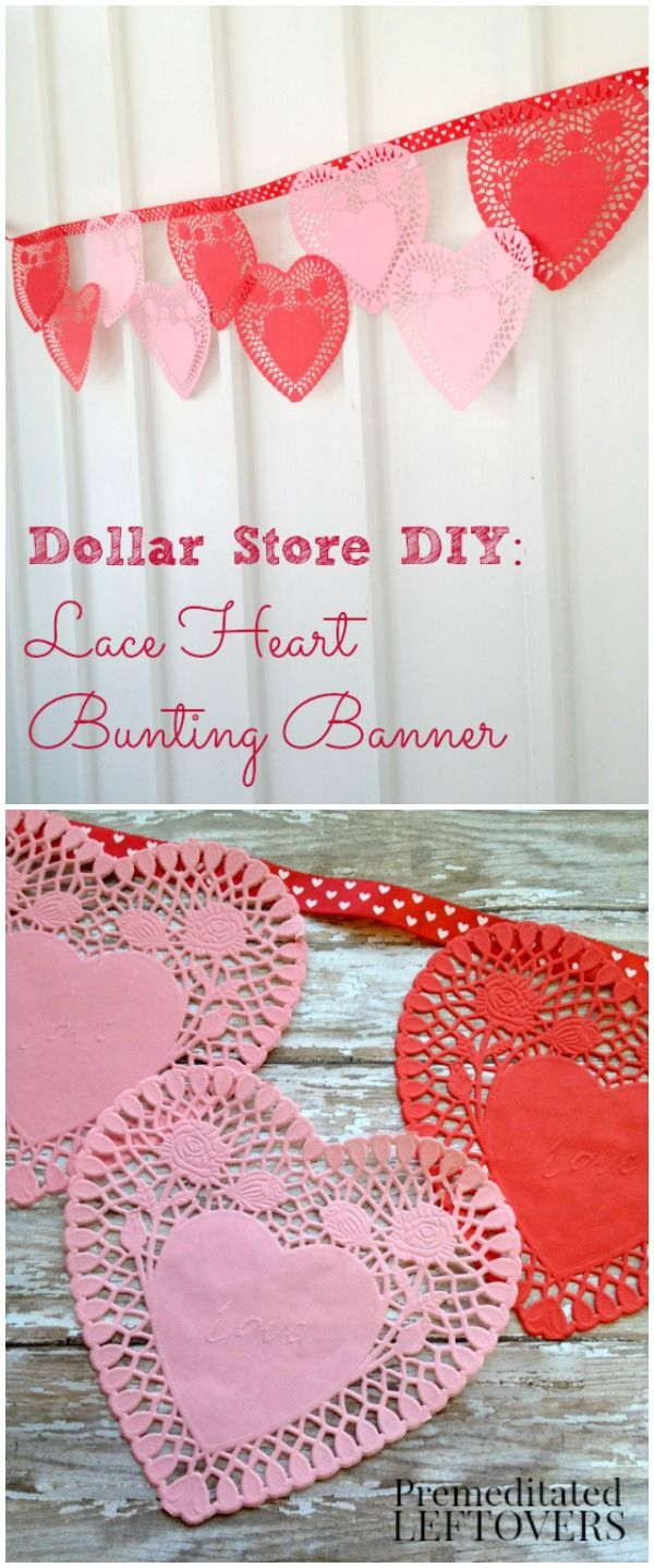 Save money on your Valentine's day party decor with this inexpensive Valentine's Day Banner using items from the Dollar Store.