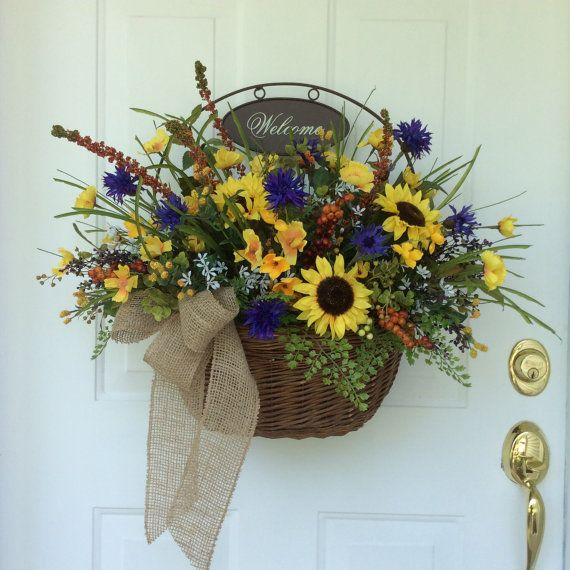Summer wreaths front door decor fall wreaths sunflowers Spring flower arrangements for front door