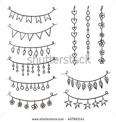 Set of hand drawn vector garlands. Collection of birthday party bunting festive garlands – Sarah Miller
