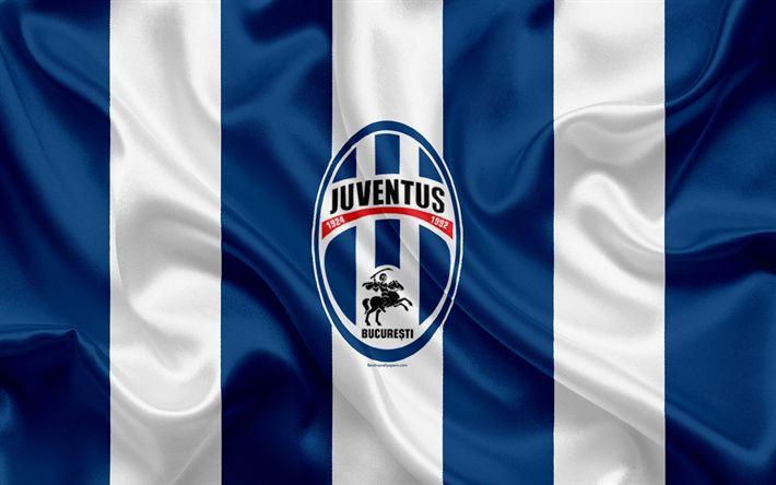 Download wallpapers FC Juventus Bucuresti, 4k, Romanian football club, logo, silk flag, Romanian Liga 1, Bucharest, Romania, football