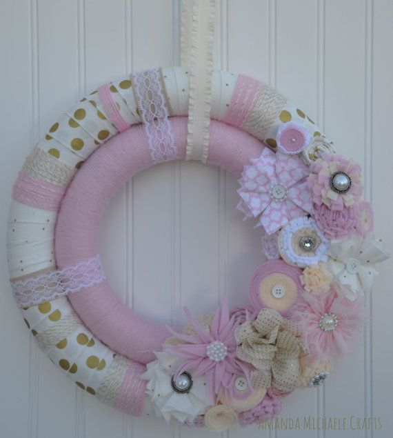 Pink and Gold Double Wreath by AmandaMichaeleCrafts on Etsy