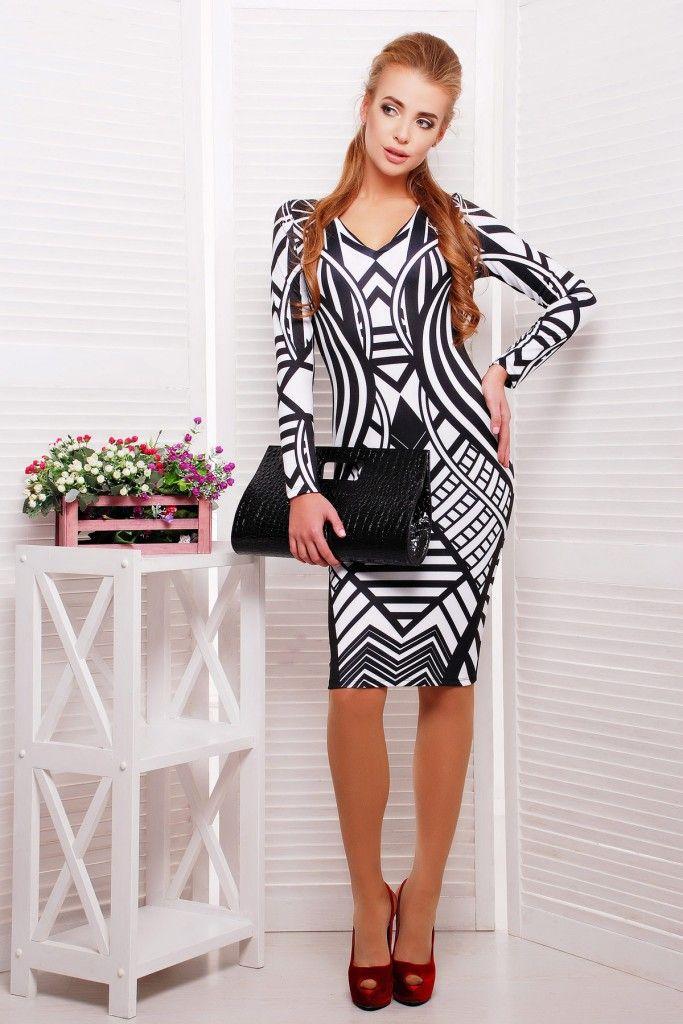 Молодежная мода — платье-футляр Имитация с геометрическим узором, доступная цена, высокое качество, все размеры, купить в интернет-магазине guppi.com.ua