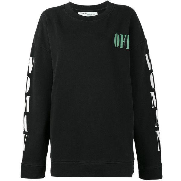 Off-White floral print sweatshirt ($573) ❤ liked on Polyvore featuring tops, hoodies, sweatshirts, black, cotton sweatshirts, flower print tops, off white sweatshirt, off white tops and floral print sweatshirt
