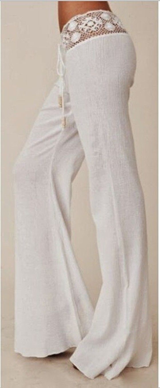 White Plain Lace Belt Mid-rise Horn Shape Long Pants - Pants - Bottoms