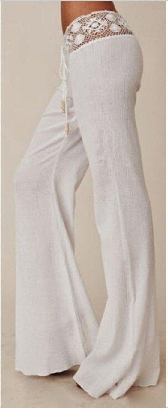 White Plain Lace Belt Mid-rise Horn Shape Long Pants
