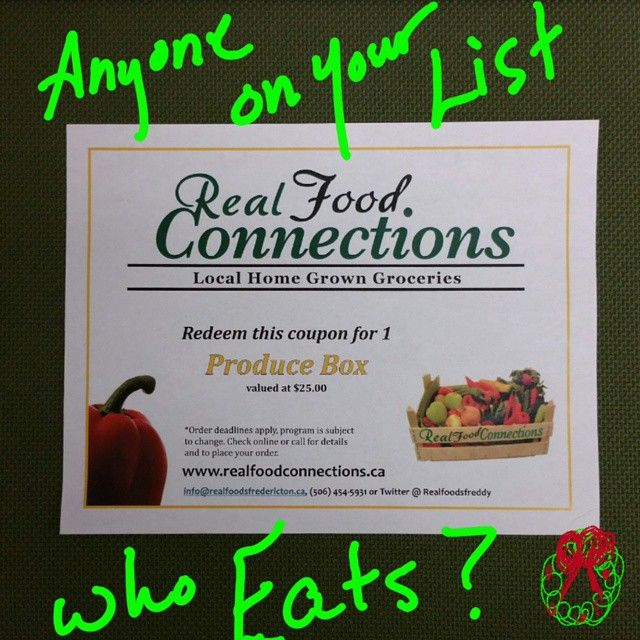 If you have people on your list who eat... we have you covered!  www.realfoodconnections.ca