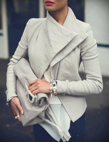 Stylish Turn-Down Collar Long Sleeve Slimming Solid Color Women's JacketJackets | RoseGal.com