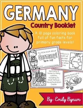 "This ""All About Germany"" booklet can be used for a very basic country study in lower elementary grades! Each page contains a basic fact and related illustration. All graphics are in an outline format so that it's ready to be colored like a mini-coloring book.This coloring booklet gives all the general/basic information about Germany, including:-geography (in Europe and borders nine other countries)-German flag-capital city of Berlin -popular German foods-most famous German castle…"