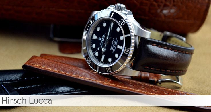 Hirsch Lucca black leather watch strap on a Rolex ...
