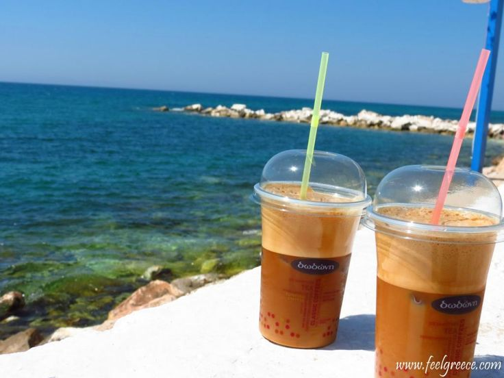 Ice cold frappe coffee at the seafront of Limenaria, Thassos island