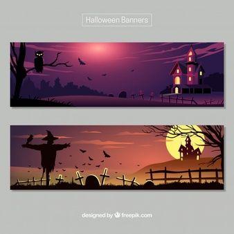 Banners de halloween con paisajes tenebrosos