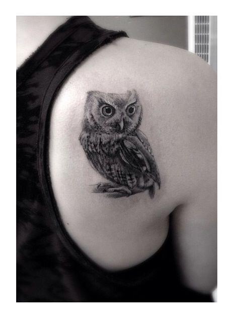 Owl tattoo - so much detail!