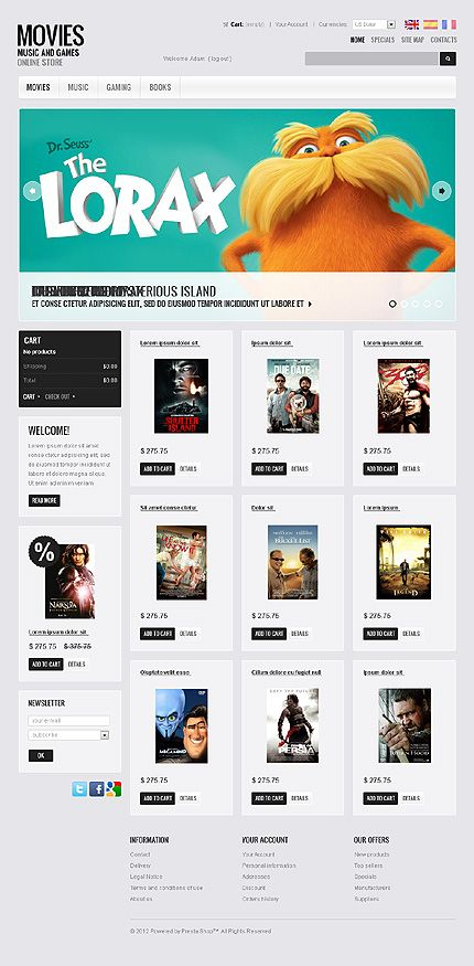 Movies CD PrestaShop Themes by Hermes