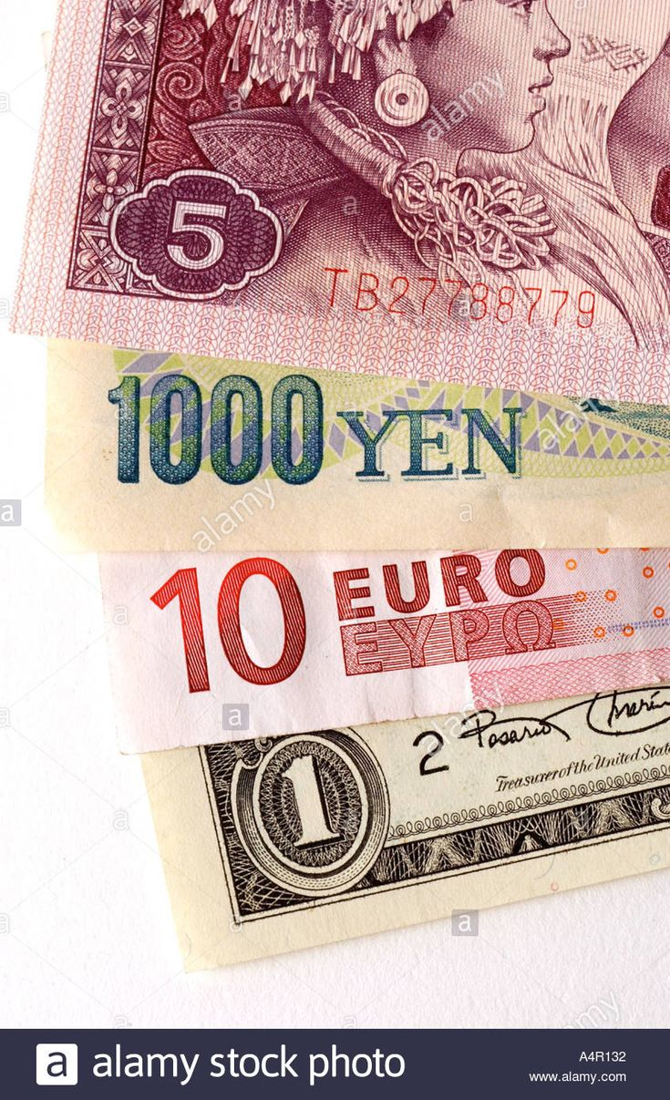 Color image of us dollar japanese yen euro and chinese currency on money finance pinterest chinese currency japanese yen and colour images