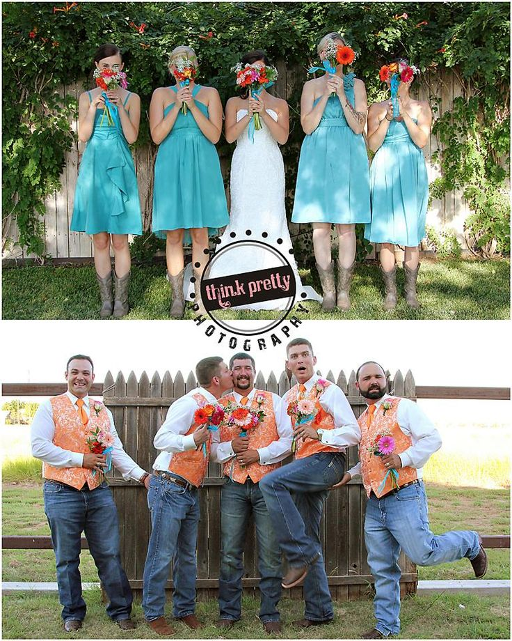 Picture from my wedding taken by Think Pretty Photography!  wedding, bright, bridesmaids, groomsmen, funny #thinkprettyphotography