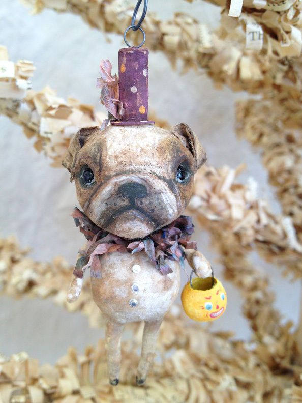 Spun Cotton Halloween Ornament Trick or Treat Bulldog by Arbutus Hunter ~ eBay