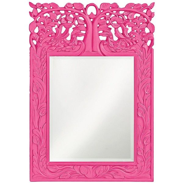 """Howard Elliott Oakvale 17"""" x 25"""" Hot Pink Wall Mirror ($190) ❤ liked on Polyvore featuring home, home decor, mirrors, pink, howard elliott, interior wall decor, leaf mirror, home wall decor and leaf wall mirror"""