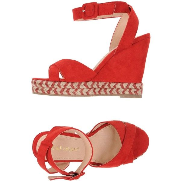 Cafènoir Espadrilles ($36) ❤ liked on Polyvore featuring shoes, sandals, red, wedge sandals, red wedge shoes, wedge heel sandals, espadrille wedge sandals and espadrille sandals