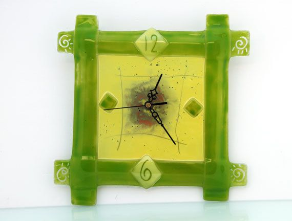 Fused glass art  clock by virtulyglass on Etsy, $42.00