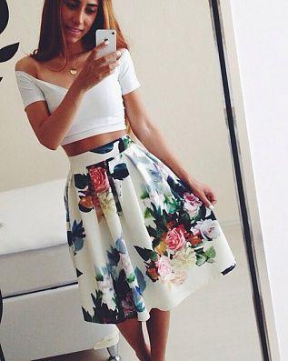White Floral Print Pleated High Waist Skater Fashion Midi Skirt