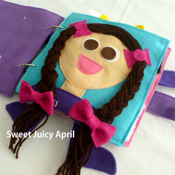 Hair Braiding Quiet Book Page by SweetJuicyApril on Etsy