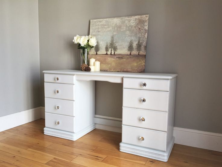 Pine Painted Dressing Table - Light Grey / Off White by BaskervilleRoss on Etsy