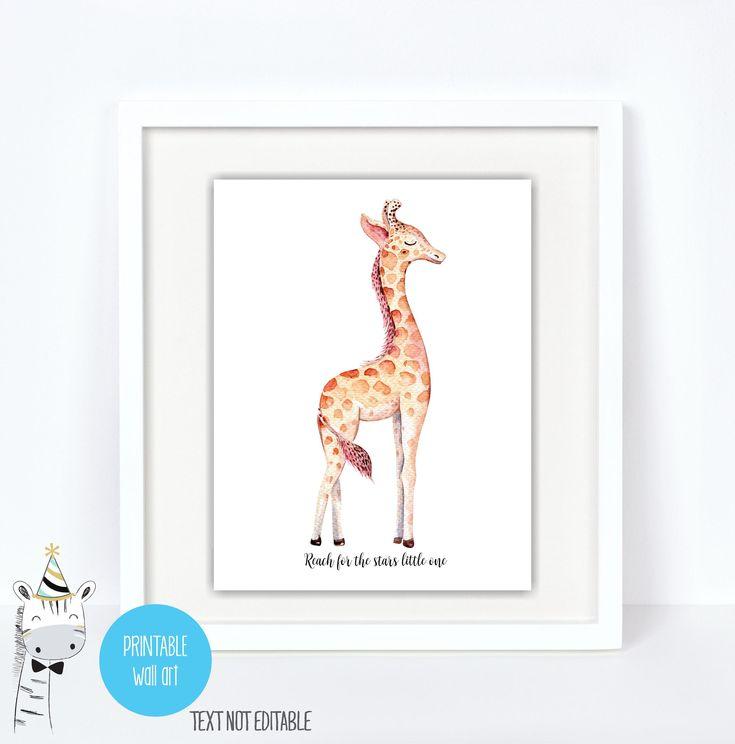 Giraffe Nursery Wall art print, Giraffe Nursery decor, Reach for the stars, Giraffe Printable Art Prints, Instant download, digital by iCandyPartyPrintable on Etsy