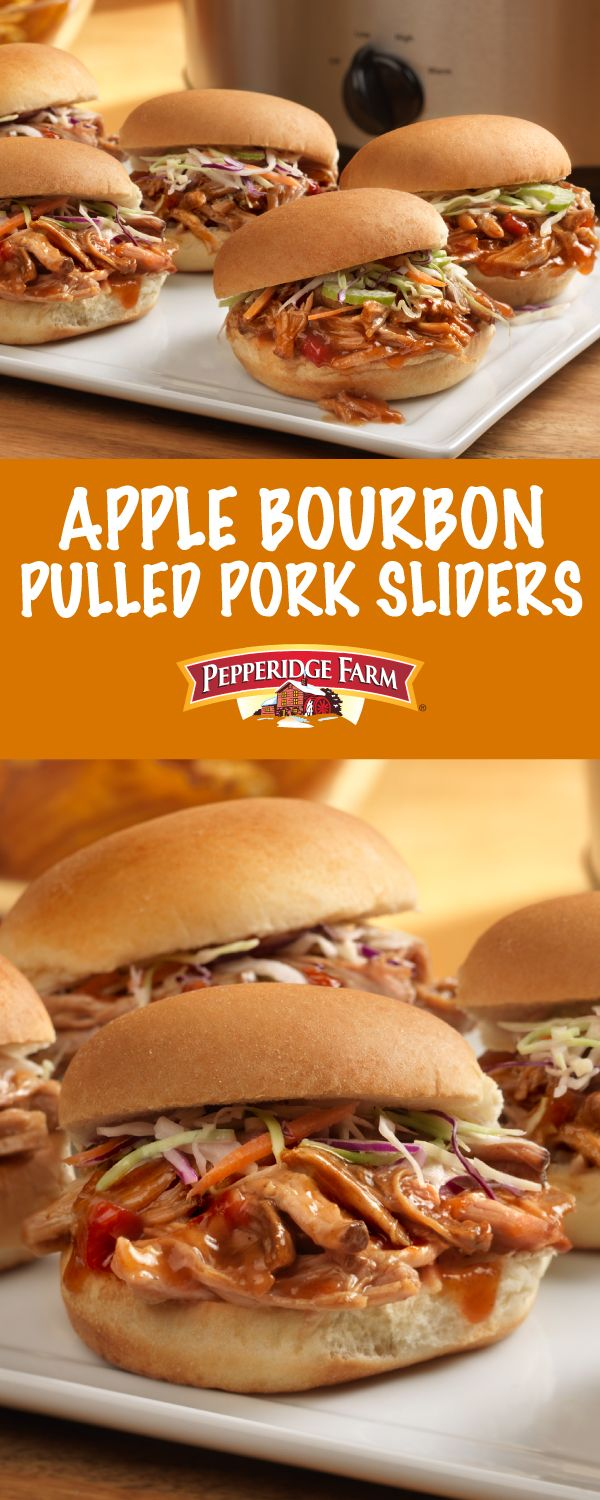 Pepperidge Farm Apple Bourbon Pulled Pork Sliders Recipe. Make a batch of super easy pulled pork with Campbell's® Apple Bourbon Pulled Pork Slow Cooker Sauce to fill these family-favorite sliders. Simply slow cook the seasoned pork shoulder until fork-tender for meat that melts in your mouth. Pile it high on irresistible Pepperidge Farm slider rolls and top with prepared cole slaw.  These scrumptious sandwiches will disappear in a flash on game day!