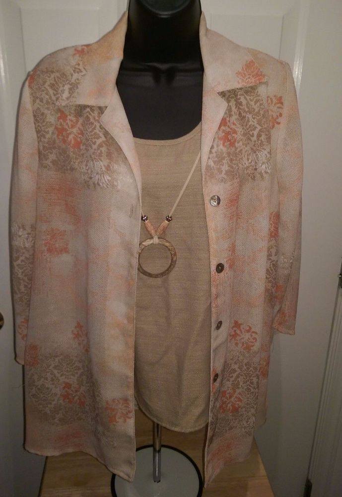 Dressbarn Woman's Brown/Orange/Yellow Design Layer LOOK Button Down Shirt Size L #dressbarn #LayerLOOKButtonDownShirt #Casual