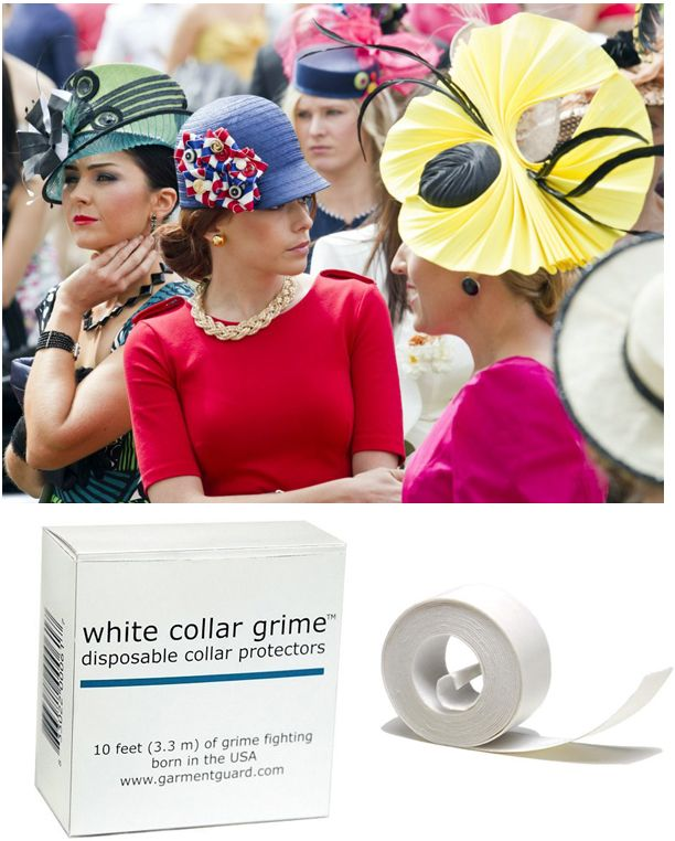 Protect the rim of your stylish race hat from make-up stains by using our soft cotton adhesive strips which can be cut to any size. http://www.secretfashionfixes.ie/white-collar-grime--disposable-collar-protectors/sts%20collarpd.html